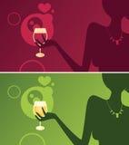 Fille élégante - vin Image stock