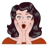 Fille étonnée Émotion de wow La femme a été étonnée et a mis ses mains à ses joues Images stock