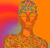 Fille abstraite avec des pierres gemmes Image libre de droits