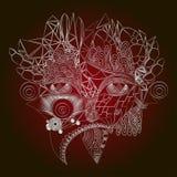 Fille abstraite de visage de Cyber Découpe blanche, d'isolement sur le fond de claret Illustration de Vecteur