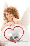 Fille adolescente heureuse d'ange avec la boule de disco Images libres de droits