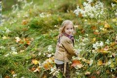 Fille adorable ayant l'amusement le jour d'automne Photographie stock libre de droits