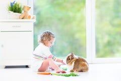 Fille adorable d'enfant en bas âge avec les cheveux bouclés avec le vrai lapin Photo libre de droits