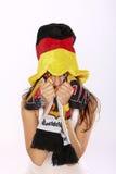 Fille allemande Excited de ventilateur de football Images stock