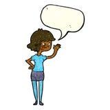 fille amicale de bande dessinée ondulant avec la bulle de la parole Photographie stock libre de droits