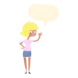 fille amicale de bande dessinée ondulant avec la bulle de la parole Photo stock