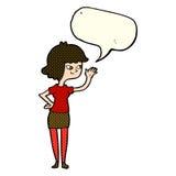 fille amicale de bande dessinée ondulant avec la bulle de la parole Photo libre de droits