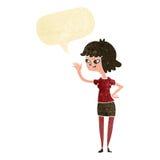 fille amicale de bande dessinée ondulant avec la bulle de la parole Images stock