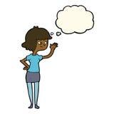 fille amicale de bande dessinée ondulant avec la bulle de pensée Photo stock