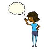 fille amicale de bande dessinée ondulant avec la bulle de pensée Photo libre de droits