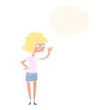 fille amicale de bande dessinée ondulant avec la bulle de pensée Photos libres de droits