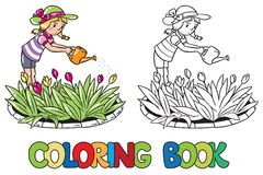 Fille arrosant les fleurs Livre de coloration Images stock