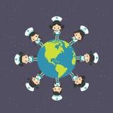 Fille asiatique autour de la terre Image stock