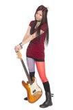 Fille asiatique avec la guitare électrique Images libres de droits
