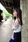 Fille asiatique dans le secteur d'art Photo stock
