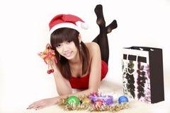 Fille asiatique de Santa dans Noël images libres de droits