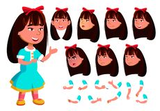 Fille asiatique, enfant, vecteur d'enfant Émotions de visage, divers gestes Ensemble de création d'animation Personnage de dessin illustration stock