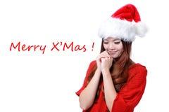 Fille asiatique heureuse de beauté avec le Joyeux Noël Images stock
