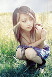 Fille asiatique triste Images stock