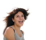 Fille assez de l'adolescence avec des poils d'un vol photographie stock libre de droits
