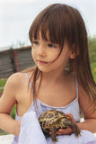 Fille assez petite tenant une tortue russe Image stock