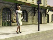 Fille attendant à l'arrêt de bus Photographie stock