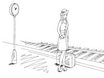 Fille attendant le train au vecteur graphique d'illustration de croquis de plate-forme de gare ferroviaire image stock