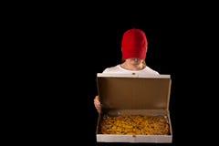 Fille attirante avec la boîte à pizza Image stock