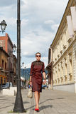 Fille attirante de mode marchant en ville image stock