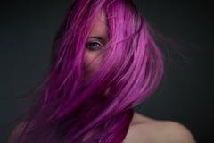 Fille attirante de portrait avec les cheveux violets Photos stock