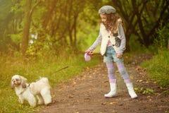 Fille aux cheveux bouclés mignonne marchant avec le chien en parc image libre de droits