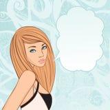 Fille avec avec les bulles blanc de pensée illustration stock