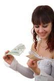 Fille avec de l'argent Photographie stock libre de droits