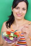 Fille avec de la salade Photographie stock