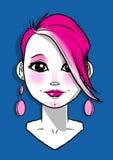Fille avec de longues boucles d'oreille roses Image stock
