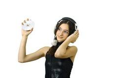 Fille avec des écouteurs Image libre de droits