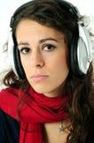 Fille avec des écouteurs Images libres de droits