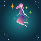 Fille avec des étoiles Illustration Libre de Droits