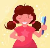 Fille avec des accolades sur son vecteur de dents cartoon Art d'isolement illustration stock
