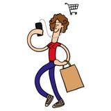 Fille avec des achats de téléphone Illustration de vecteur Photo stock
