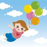 fille avec des ballons illustration de vecteur