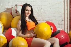 Fille avec des boules Photos stock