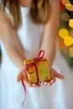 Fille avec des cadeaux de Noël Photo stock