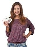 Fille avec des cartes de jeu Images libres de droits