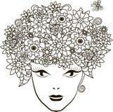 Fille avec des cheveux de fleurs, anti-effort de coloration de page Photos libres de droits