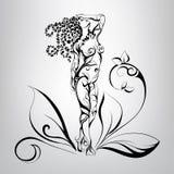 Fille avec des cheveux de végétation Illustration de vecteur Image libre de droits