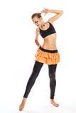 Fille avec des danses de maquillage de clown Photographie stock