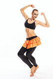 Fille avec des danses de maquillage de clown Photo libre de droits