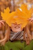 Fille avec des feuilles d'automne photo libre de droits