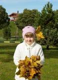 Fille avec des feuilles d'automne Photographie stock